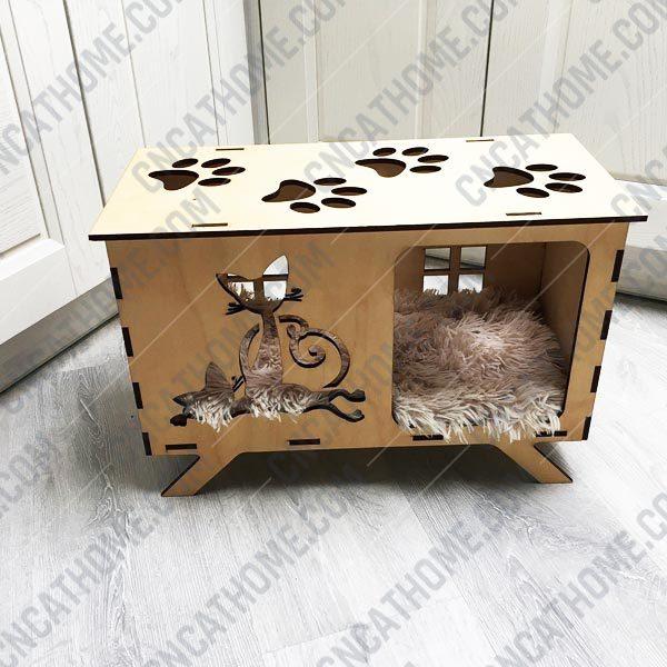 Cat house design files - DXF SVG EPS AI CDR P0014